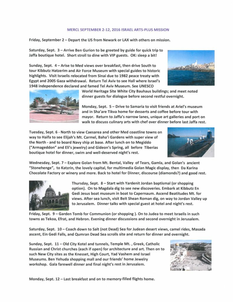 MERCL September 2016 Itinerary